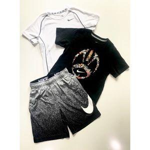 Boys Nike Dri-Fit Shirts Shorts Set Sz XSmall EUC